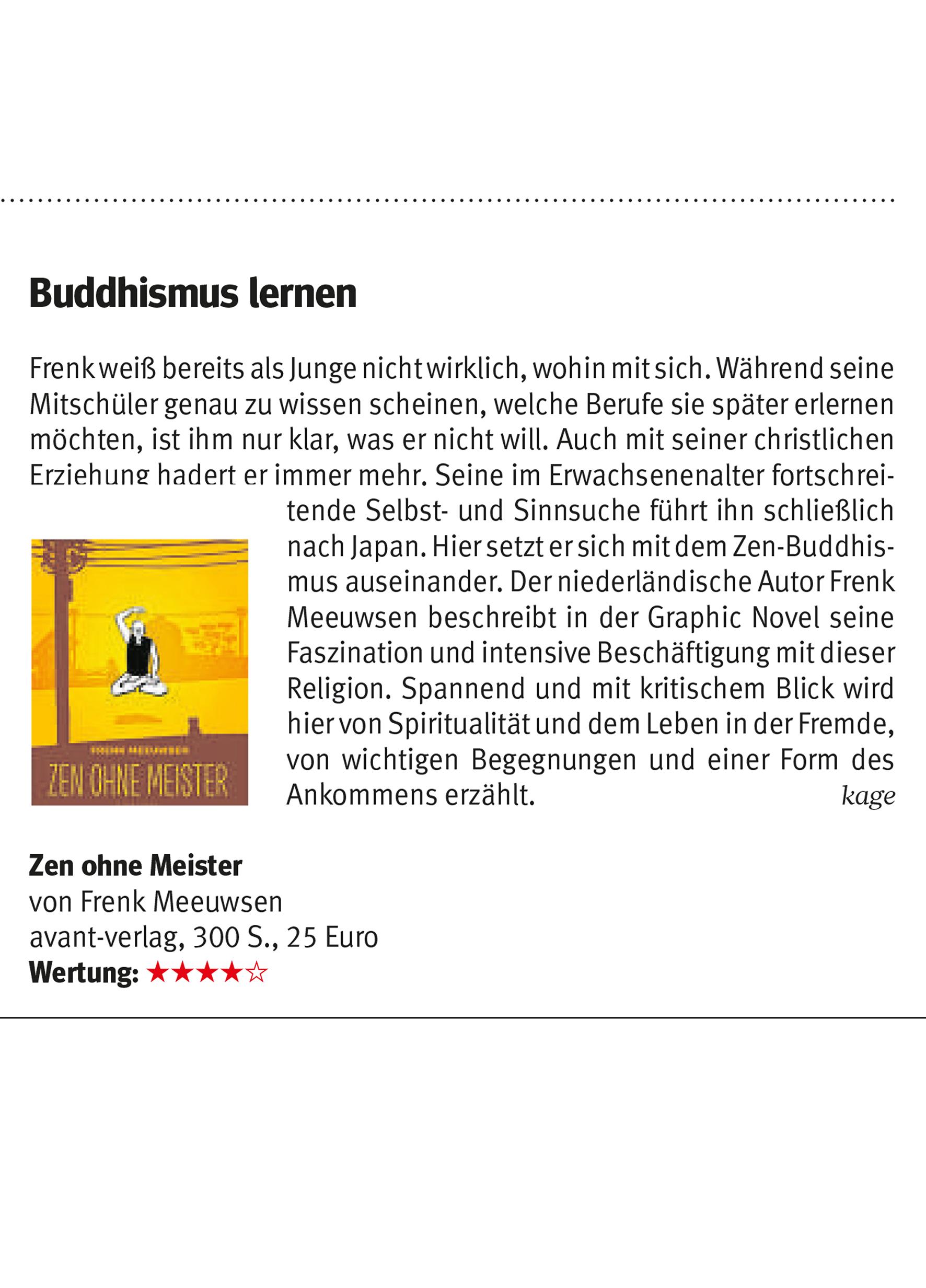 ZEN OHNE MEISTER in Westdeutsche Allgemeine Zeitung