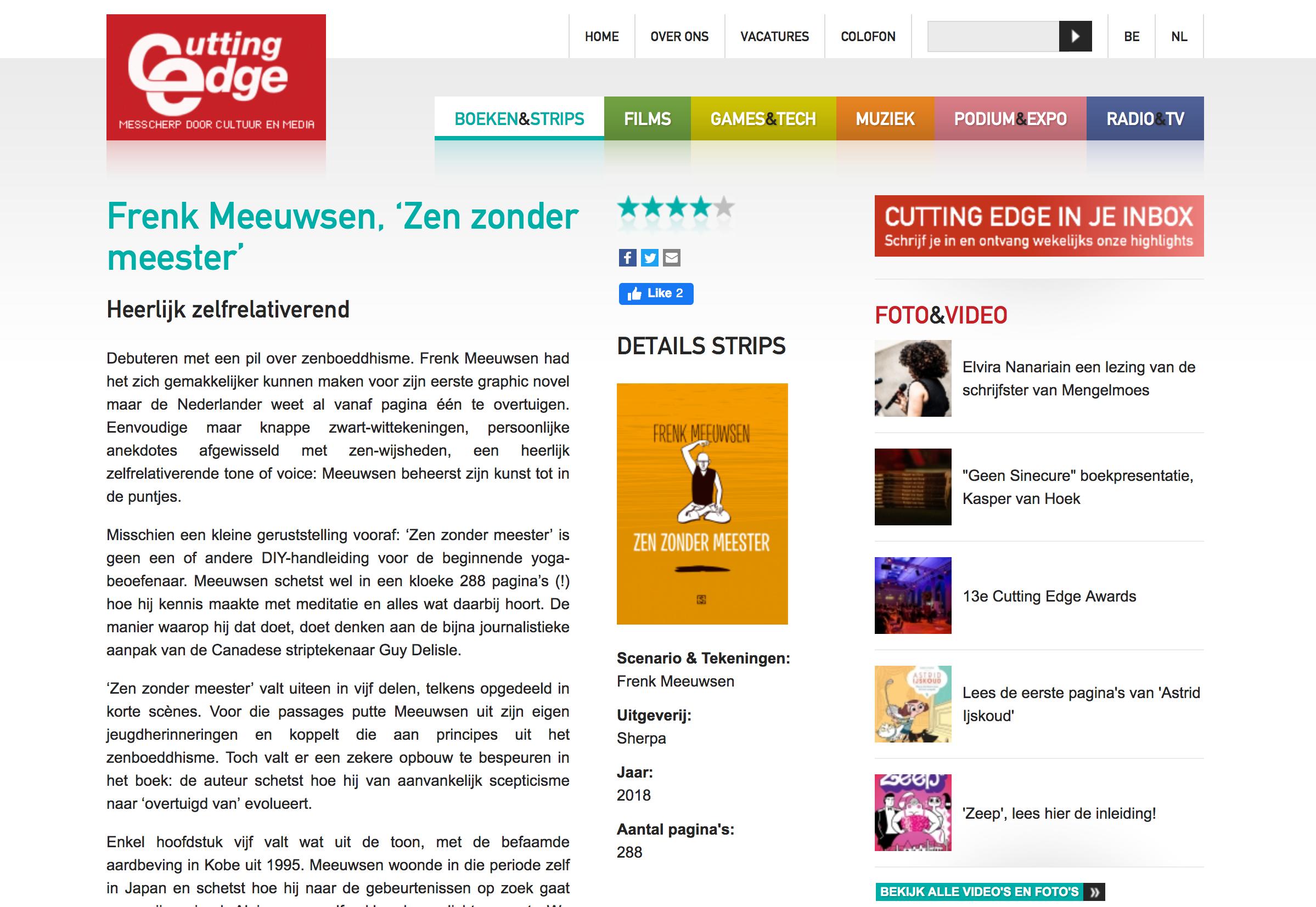Cutting Edge, Frenk Meeuwsen, 'Zen zonder meester' Heerlijk zelfrelativerend